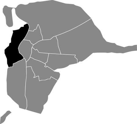 Black location map of the Sevillian Triana district inside the Spanish regional capital city of Seville, Spain 矢量图像