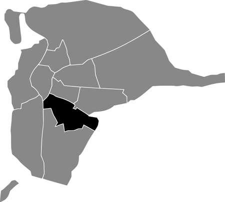 Black location map of the Sevillian Distrito Sur district inside the Spanish regional capital city of Seville, Spain