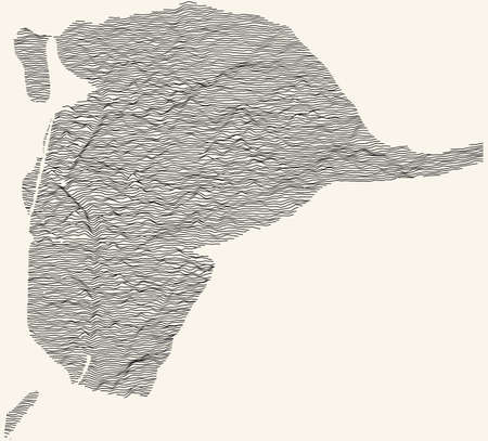 Topographic map of Seville, Spain with black contour lines on beige background