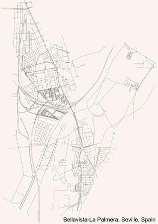 Black simple detailed street roads map on vintage beige background of the quarter Bellavista-La Palmera district of Seville, Spain