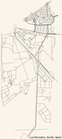 Black simple detailed street roads map on vintage beige background of the quarter Los Remedios district of Seville, Spain 矢量图像