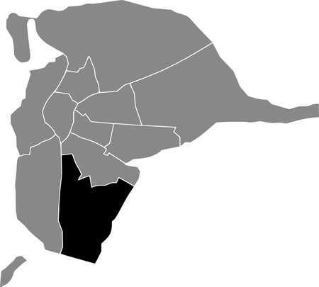 Black location map of the Sevillian Bellavista-La Palmera district inside the Spanish regional capital city of Seville, Spain