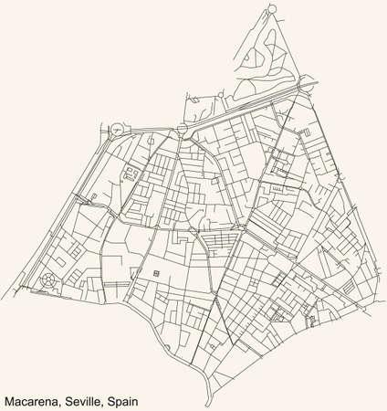 Black simple detailed street roads map on vintage beige background of the quarter Macarena district of Seville, Spain 矢量图像