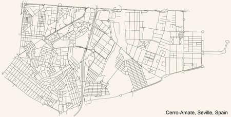 Black simple detailed street roads map on vintage beige background of the quarter Cerro-Amate district of Seville, Spain