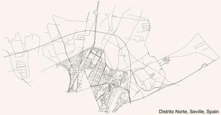 Black simple detailed street roads map on vintage beige background of the quarter Distrito Norte district of Seville, Spain