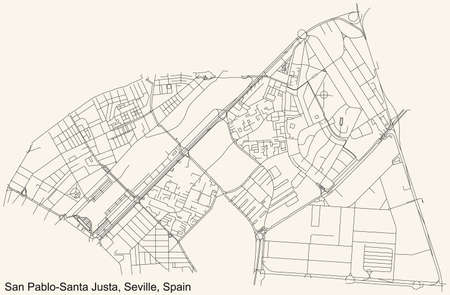 Black simple detailed street roads map on vintage beige background of the quarter San Pablo-Santa Justa district of Seville, Spain