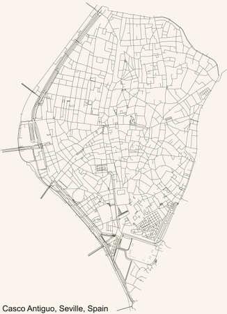 Black simple detailed street roads map on vintage beige background of the quarter Casco Antiguo district of Seville, Spain 矢量图像