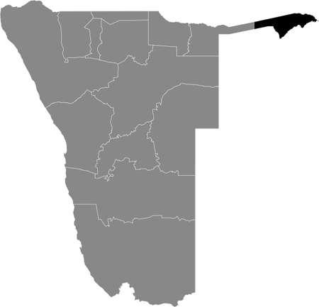Black highlighted location map of the Namibian Zambezi region inside gray map of the Republic of Namibia