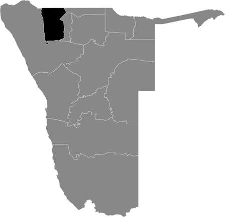 Black highlighted location map of the Namibian Omusati region inside gray map of the Republic of Namibia