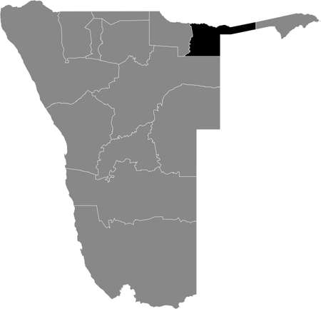 Black highlighted location map of the Namibian Kavango East region inside gray map of the Republic of Namibia
