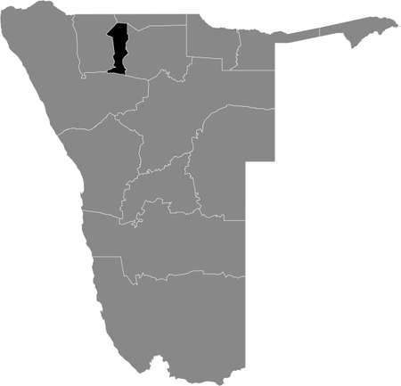 Black highlighted location map of the Namibian Oshana region inside gray map of the Republic of Namibia 矢量图像