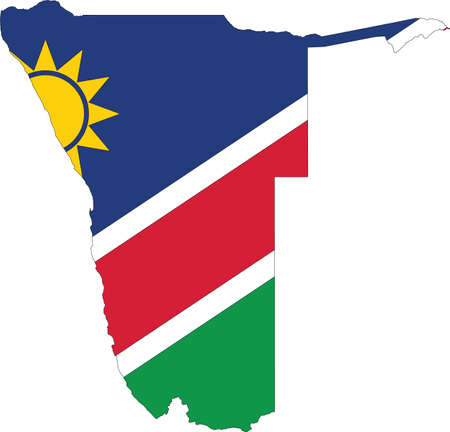 Simple flat flag map of the Republic of Namibia