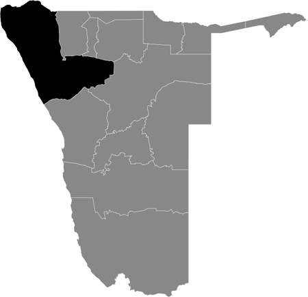Black highlighted location map of the Namibian Kunene region inside gray map of the Republic of Namibia