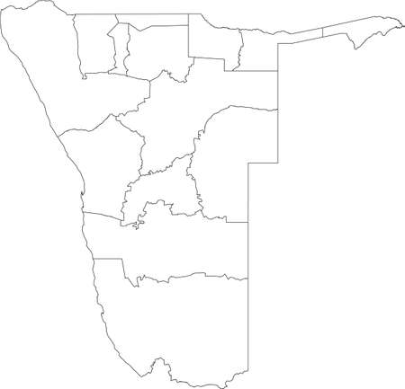 White vector map of the Republic of Namibia with black borders of its regions