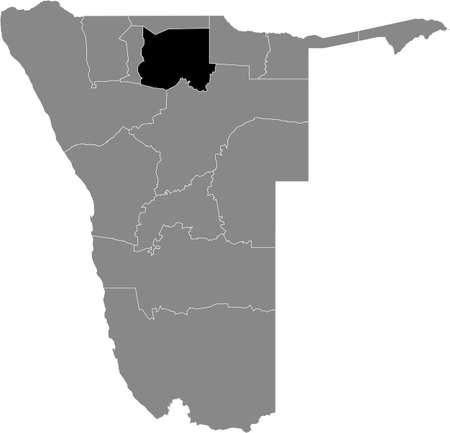 Black highlighted location map of the Namibian Oshikoto region inside gray map of the Republic of Namibia 矢量图像