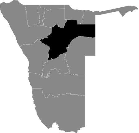 Black highlighted location map of the Namibian Otjozondjupa region inside gray map of the Republic of Namibia