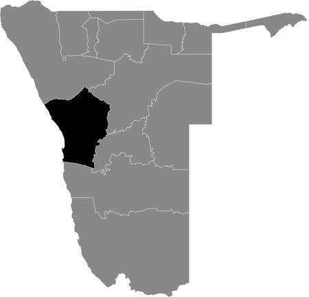 Black highlighted location map of the Namibian Erongo region inside gray map of the Republic of Namibia