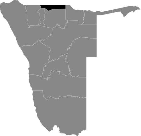 Black highlighted location map of the Namibian Ohangwena region inside gray map of the Republic of Namibia