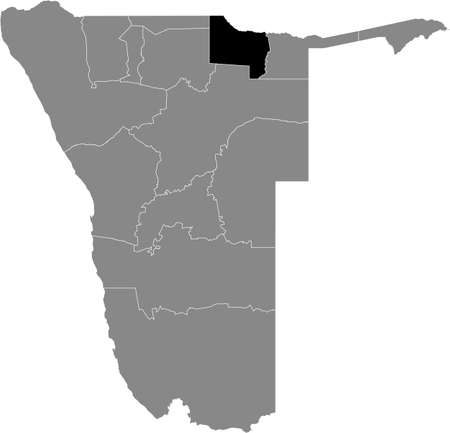 Black highlighted location map of the Namibian Kavango West region inside gray map of the Republic of Namibia 矢量图像