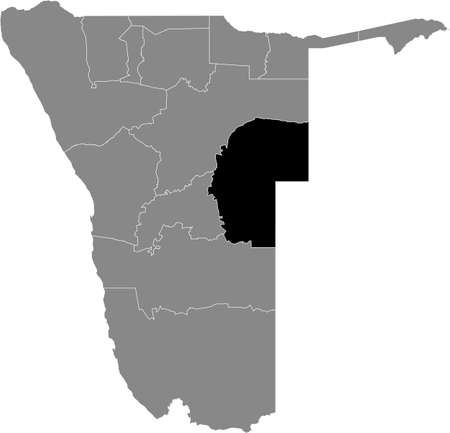 Black highlighted location map of the Namibian Omaheke region inside gray map of the Republic of Namibia