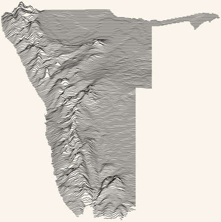 Light topographic map of the Republic of Namibia with black contour lines on beige background