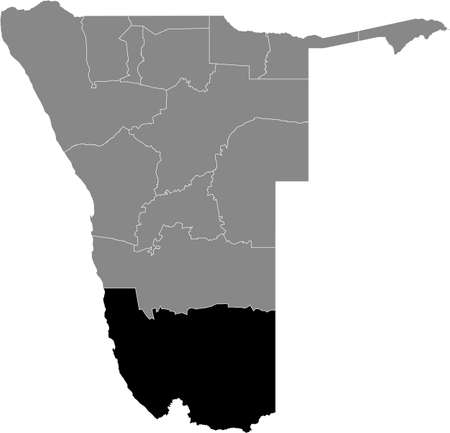 Black highlighted location map of the Namibian Karas region inside gray map of the Republic of Namibia