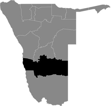 Black highlighted location map of the Namibian Hardap region inside gray map of the Republic of Namibia