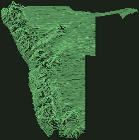 Topographic military radar tactical map of the Republic of Namibia with emerald green contour lines on dark green background