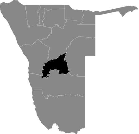 Black highlighted location map of the Namibian Khomas region inside gray map of the Republic of Namibia