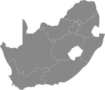 Gray vector map of the Republic of South Africa with white borders of its provinces Vector Illustration