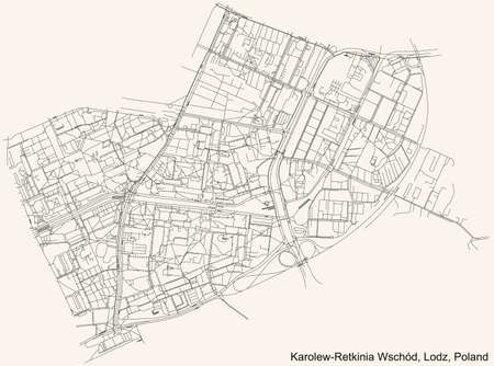 Black simple detailed street roads map on vintage beige background of the quarter Karolew-Retkinia Wschód district of Lodz, Poland
