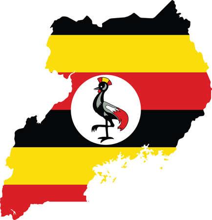 Simple flat flag map of the Republic of Uganda
