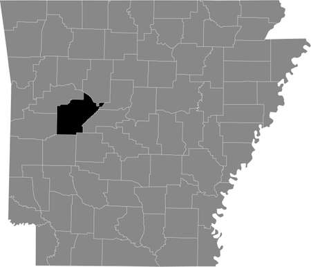 Black highlighted location map of the US Yell county inside gray map of the Federal State of Arkansas, USA