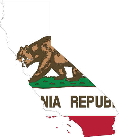 Simple flat flag map of the Federal State of California, USA Illustration