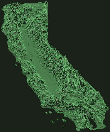Topographic military radar tactical map of the Federal State of California, USA with emerald green contour lines on dark green background