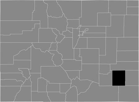Black highlighted location map of the US Bent county inside gray map of the Federal State of Colorado, USA Illustration