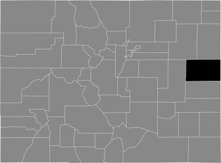 Black highlighted location map of the US Kit Carson county inside gray map of the Federal State of Colorado, USA