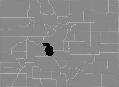 Black highlighted location map of the US Chaffee county inside gray map of the Federal State of Colorado, USA