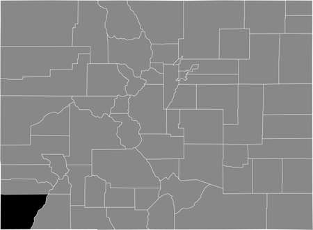 Black highlighted location map of the US Montezuma county inside gray map of the Federal State of Colorado, USA