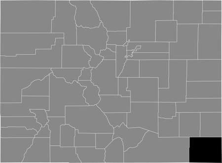 Black highlighted location map of the US Baca county inside gray map of the Federal State of Colorado, USA