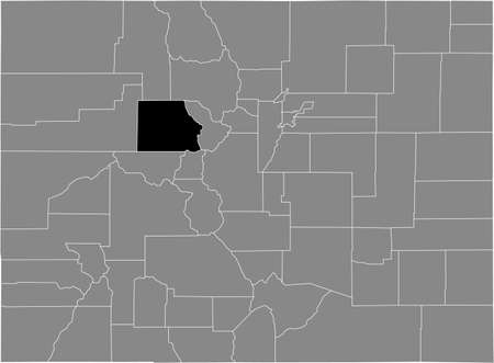 Black highlighted location map of the US Eagle county inside gray map of the Federal State of Colorado, USA