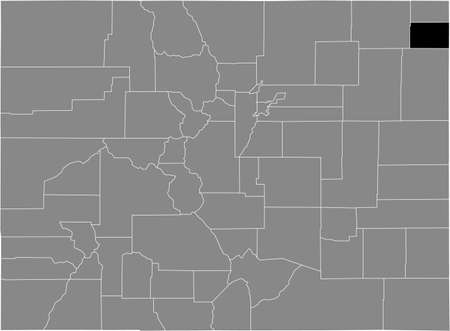 Black highlighted location map of the US Phillips county inside gray map of the Federal State of Colorado, USA