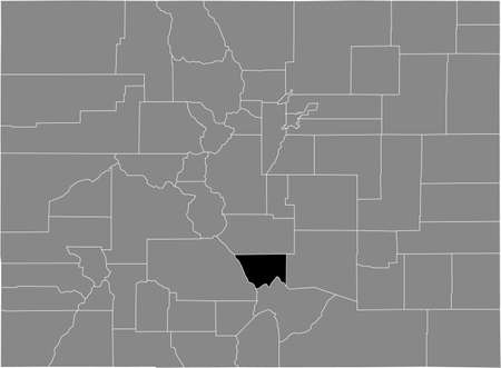 Black highlighted location map of the US Custer county inside gray map of the Federal State of Colorado, USA