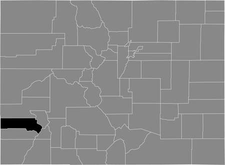 Black highlighted location map of the US San Miguel county inside gray map of the Federal State of Colorado, USA