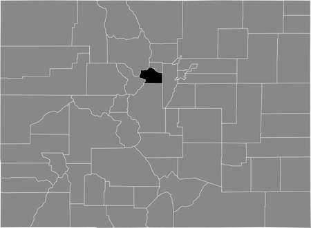 Black highlighted location map of the US Clear Creek county inside gray map of the Federal State of Colorado, USA Illustration