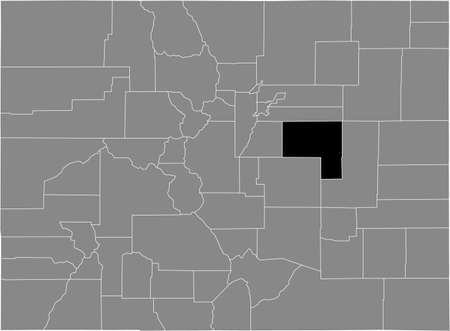 Black highlighted location map of the US Elbert county inside gray map of the Federal State of Colorado, USA
