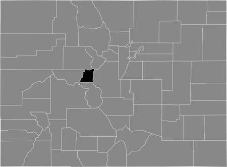 Black highlighted location map of the US Lake county inside gray map of the Federal State of Colorado, USA Illustration