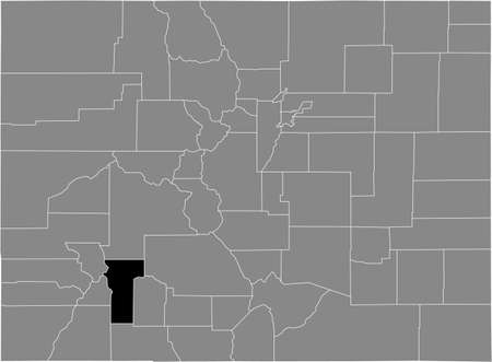 Black highlighted location map of the US Hinsdale county inside gray map of the Federal State of Colorado, USA