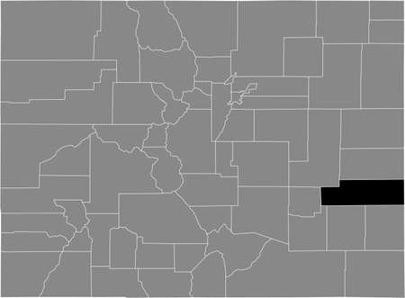 Black highlighted location map of the US Kiowa county inside gray map of the Federal State of Colorado, USA