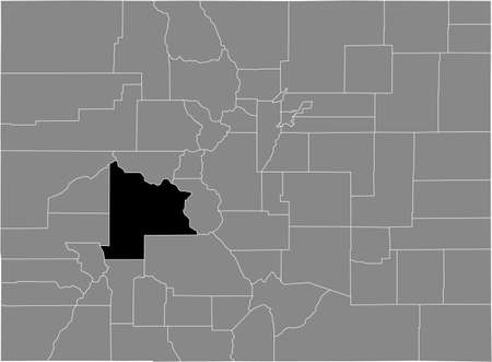 Black highlighted location map of the US Gunnison county inside gray map of the Federal State of Colorado, USA Illustration